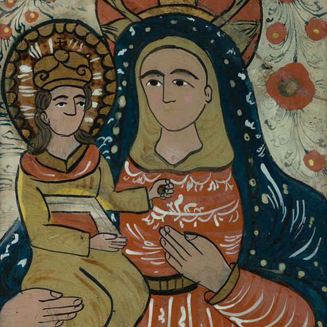 P. Mária sJežiškom, podmaľba na skle
