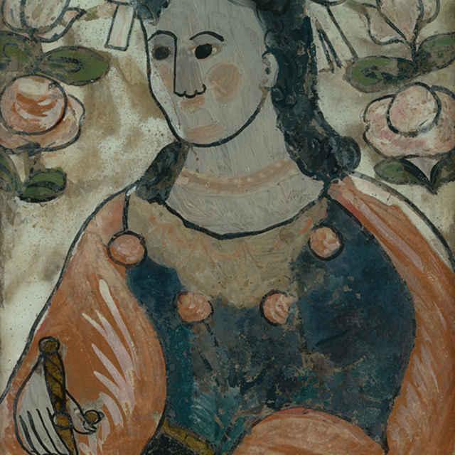 sv. Katarína, podmaľba na skle