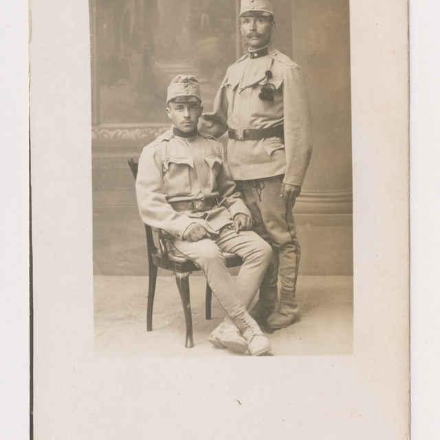 Pohľadnica: Portrét dvoch vojakov