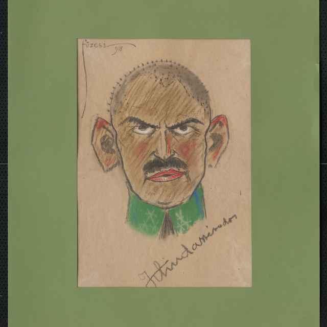 Pastel na papieri - karikatúra vojaka, hlava staršieho muža zpredu, vlasy ostrihané na ježka, s odstávajúcimi ušami. Vľavo dole nečitateľný autogram, vpravo sign.: Füzesi 918; rozm.: 43,5 x 30,5 cm