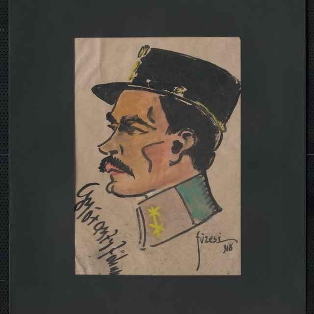 Akvarel na papieri - karikatúra vojaka, hlava muža z profilu otočená doľava, s brigadírkou na hlave, čierne vlasy a fúzy; vľavo dole autogram: Gyorgyfy, vpravo dole sign.: Füzesi 918; rozm.: 42,5 x 31 cm