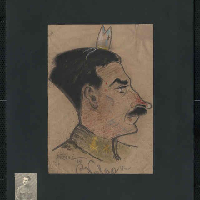 Pastel na papieri - karikatúra vojaka, hlava staršieho muža z profilu, otočená doprava, čierne vlasy a fúzy, na hlave malá biskupská mitra; v strede dolu autogram: Valgan, vľavo dolu sign.: Füzesi 918; rozm.: 43,5 x 30 cm