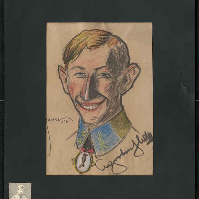 Pastel na papieri - karikatúra vojaka, hlava spredu pootočená doľava, mladý smejúci sa muž, pod výložkami medailón na ktorom je noha dámy v črievici, vpravo dole autogram, vľavo sign.: Füzesi 918; rozm.: 43 x 30,7 cm