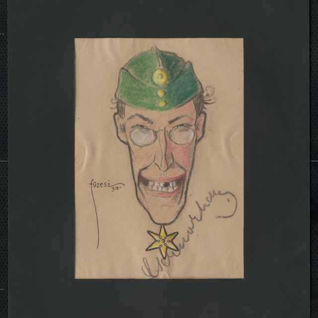 Pastel na papieri - karikatúra vojaka, hlava muža z predu, s lodičkou, cvikrom, úsmev, vpravo dolu autogram Czernoczky, vľavo signatúra Füzesi 918; rozm.: 41 x 28,3 cm