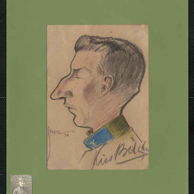 Pastel na papieri - karikatúra vojaka, celá postava, starší muž s orlím nosom kráčajúci za ženou, na hrudi srdce prebodnuté šípom. Vpravo hore nečitateľný autogram, vľavo hore sign.: Füzesi 918; rozm.: 44 x 31 cm
