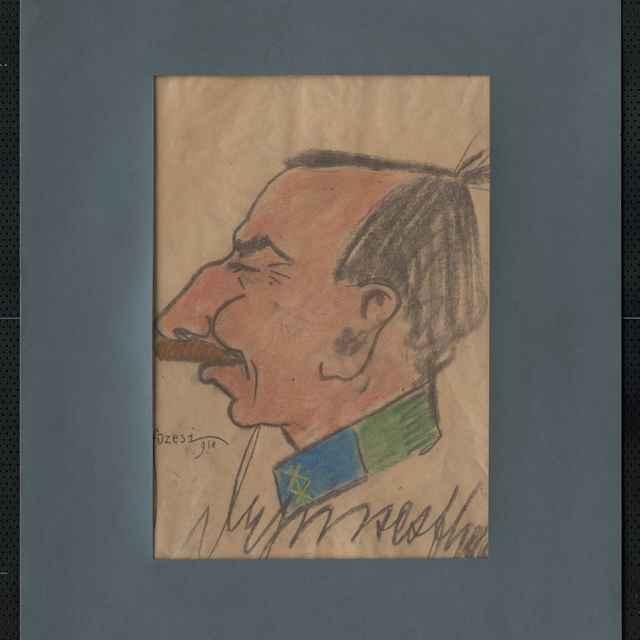 Pastel na papieri - karikatúra vojaka, hlava muža z profilu otočená doľava, výrazne hranatá, s orlím nosom a fúzami, dole nečitateľný autogram, vľavo dolu signatúra: Füzesi 918; rozm.: 44 x 30,5 cm