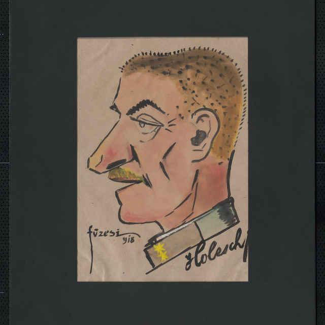 Akvarel na papieri - karikatúra vojaka, hlava staršieho muža z profilu, otočená doľava, bez čiapky, vlasy ostrihané na krátko, s fúzikmi, výrazný nos; v pravo dole autogram: Holesch, vľavo dole sign.: Füzesi 918; rozm.: 40 x 31 cm