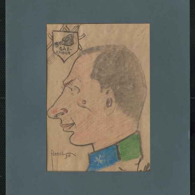 Pastel na papieri - karikatúra vojaka, hlava muža z profilu otočená doľava, s výrazným nosom, v ľavom hornom rohu erb, v ňom plynová maska a nápis: GÁZ-EMBER, vpravo dole autogram Berác,..a