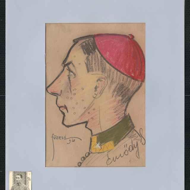 Pastel na papieri - karikatúra vojaka, hlava mladého muža z profilu otočená doľava, na temene hlavy malá čiapočka cyklámenovej farby, vpravo dole autogram: Emödy, vľado dole sign.: Füzesi 918; rozm.: 43,5 x 30 cm