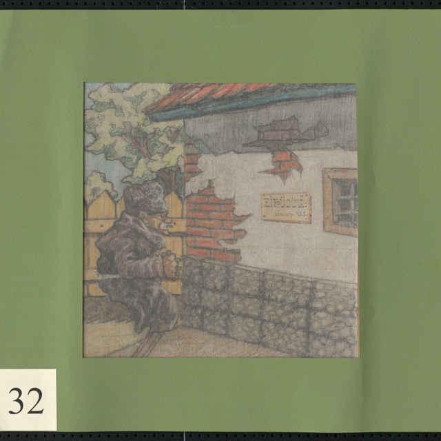 Kresba farebnými ceruzkami na papieri - karikatúra - postava starého muža pred budovou s maď. nápisom: Zotavovňa Zita, tábor 425; vpravo dole iniciálky - ZJ; rozm.: 20,5 x 18,5 cm