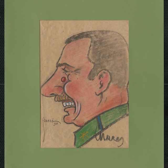 Pastel na papieri - karikatúra vojaka, hlava staršieho silného muža z profilu, otočená doľava, s fúzami, smejúceho sa. Na výraznom nose výrastok. Vpravo dole autogram: Marey, vľavo dole sign.: Füzesi 918; rozm.: 42,5 x 30,5 cm