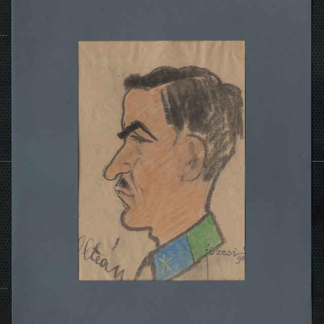 Pastel na papieri - karikatúra vojaka, hlava staršieho muža z profilu, otočená doľava, bez čiapky, s tmavými vlasmi a fúzikmi; v ľavom roku dole autogram: Oltean, vpravo dole sign.: Füzesi 918; 42 x 30 cm