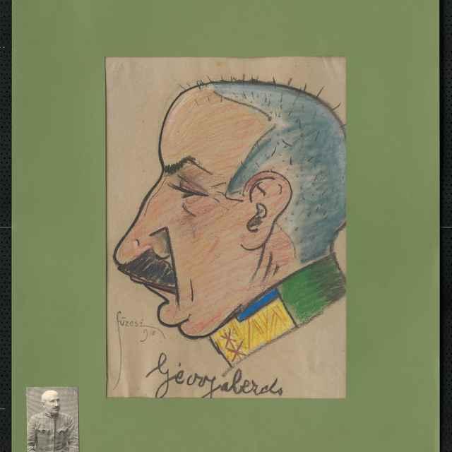 Pastel na papieri - karikatúra vojaka, hlava staršieho muža z profilu, otočená doľava, čierne vlasy, veľké fúzy, silný nos. Vpravo dole sign.: Füzesi 917; rozm.: 40 x 31,5 cm