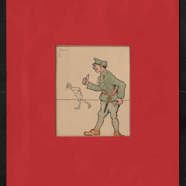 Kresba tušom - karikatúra vojaka, stojaceho, so zdvihnutou pravou rukou, v pozadí postava vychudnutého vojaka pochodujúceho s rukami za chrbtom; vľavo hore sign.: Füzesi 917; rozm.: 25 x 20,5 cm
