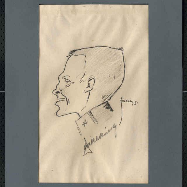 Ceruzka a tuš na papieri - karikatúra vojaka, hlava mladého muža z profilu otočená doľava, bez čiapky, s úsmevom na tvári, pod ňou nečitateľný autogram, vpravo sign.: Füzesi 918; roz.: 27,8 x 19,5 cm