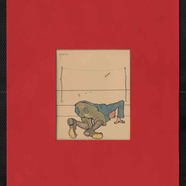 Akvarel na papieri, tuš,kombinovaná technika - karikatúra vojaka pri hádzaní cvičného granátu, ošumelý zovňajšok; vľavohore sign.: Füzesi 917; rozm.: 25 x 20,5 cm