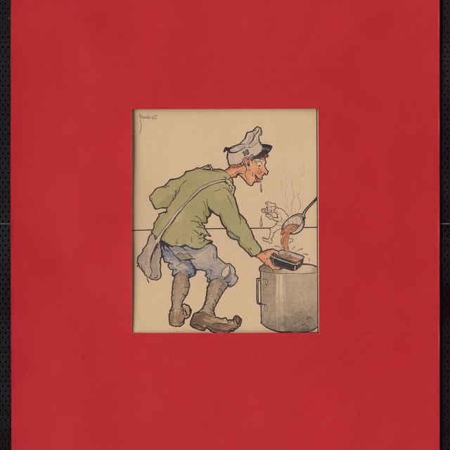 Akvarel, tuš - karikatúra vojaka pri preberaní stravy, postava vychudnutá v ošumelej uniforme, farebné prevedenie, v pozadí kresba kráčajúceho vojaka tušom; vľavo hore sign.: Füzesi 917; rozm.: 25 x 20,5 cm