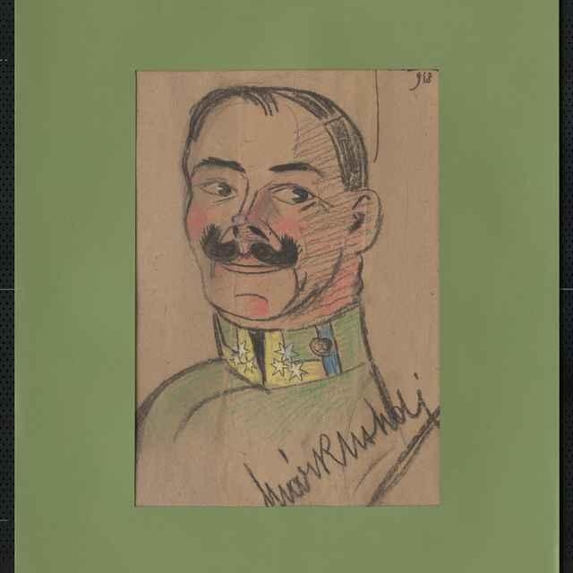 Pastel na papieri - karikatúra vojaka, poprsie staršieho muža spredu, veľké vytočené fúzy, mäsitá brada, vpravo dole autogram: Márkus, vpravo hore sign.: Füzesi 918; rozm.: 48 x 33 cm