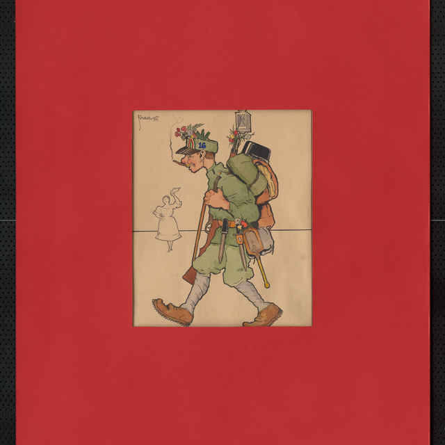 Akvarel farebný, tuš - karikatúra kráčajúceho vojaka v plnej poľnej s kytičkami kvetov prevedená farebne, v pozadí načrtnutá postava tušom - mávajúca žena; v ľavo hore sign.: Füzesi 917; rozm.: 25 x 20,5 cm