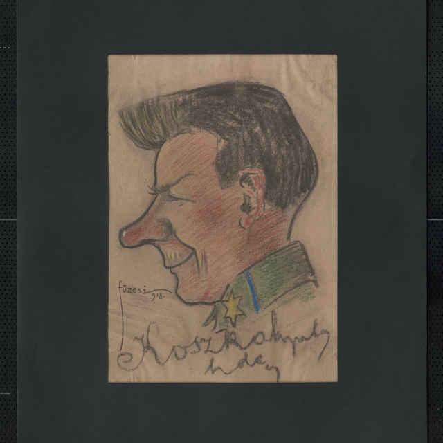 Pastel na papieri - karikatúra vojaka, hlava muža z profilu, otočená doľava, bez čiapky, s výrazným nosom, ustupujúcou bradou. Dole autogram: Koszka, vľavo sign.: Füzesi 918; rozm.: 41,5 x 30 cm