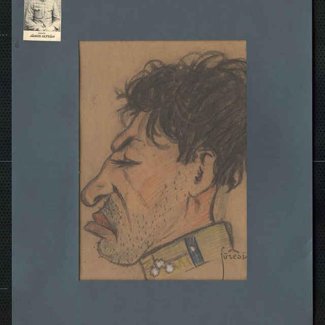 Pastel na papieri - karikatúra vojaka, hlava muža z profilu otočená doľava, neupravený zovňajšok, silná, svstupujúca brada. Vpravo dole sign.: Füzesi 917; rozm.: 43 x 32,5 cm