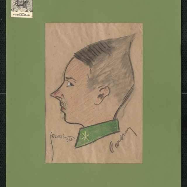 Pastel na papieri - karikatúra vojaka, hlava madého muža s profilu, otočená doľava, šišatá, s vyhrnutým ostrým nosom, vpravo dolu autogram: Paróny, vľavo dolu sign.: Füzesi 918; sozm.: 42 x 30 cm