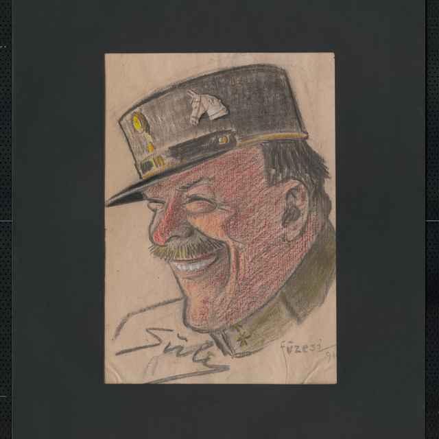 Pastel na papieri - karikatúra vojaka, hlava smejúceho sa muža s fúzami pootočená doľava, so šiltovkou na hlave, na nej hlava koňa, vľavo dole autogram: Sühy, vpravo dolu signatúra: Füzesi 918; rozm.: 41,5 x 30 cm