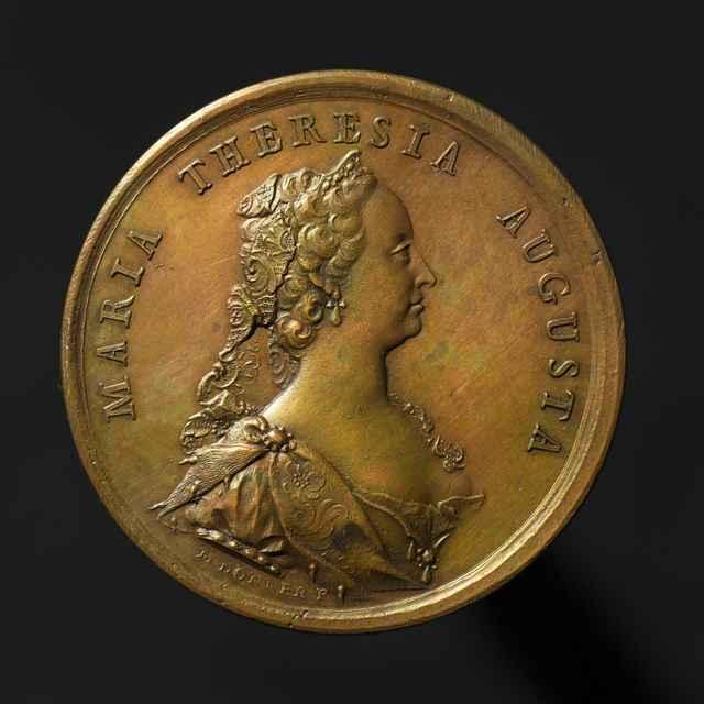 Pamätná medaila na bratislavskú korunováciu ako Márie Terézie ako uhorskej kráľovnej, medená