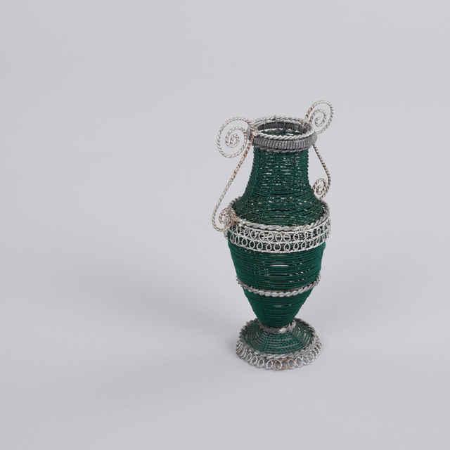 Amforka zelená, zdobená, drotárska práca - Hozák, Alexander