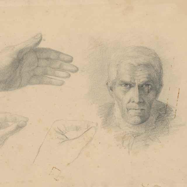 Štúdia hlavy starca a ruky - Čordák, Ľudovít