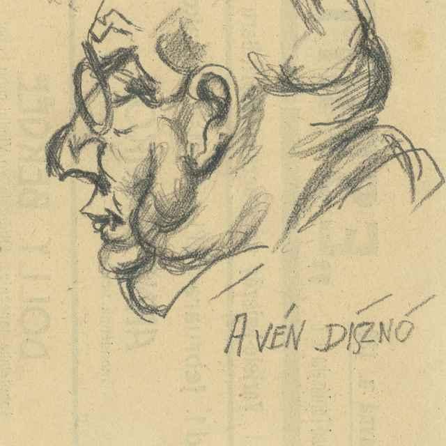 Štúdia mužskej hlavy s okuliarmi - Bauer, Konštantín