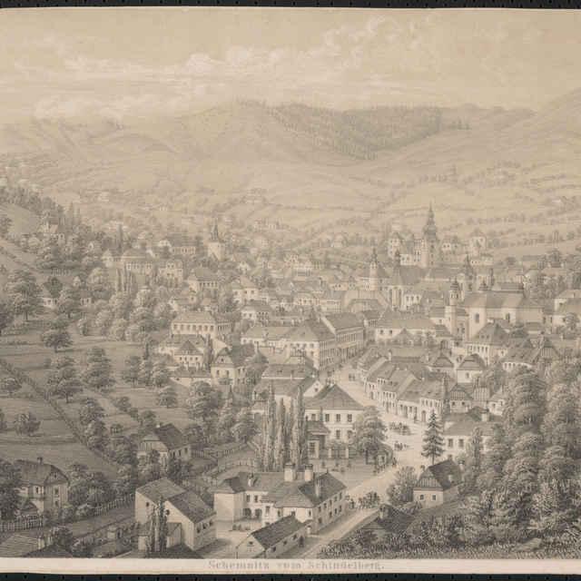 Veduta, Hugo Löschinger, Banská Štiavnica, litografia, 19. storočie - Löschinger, Hugo
