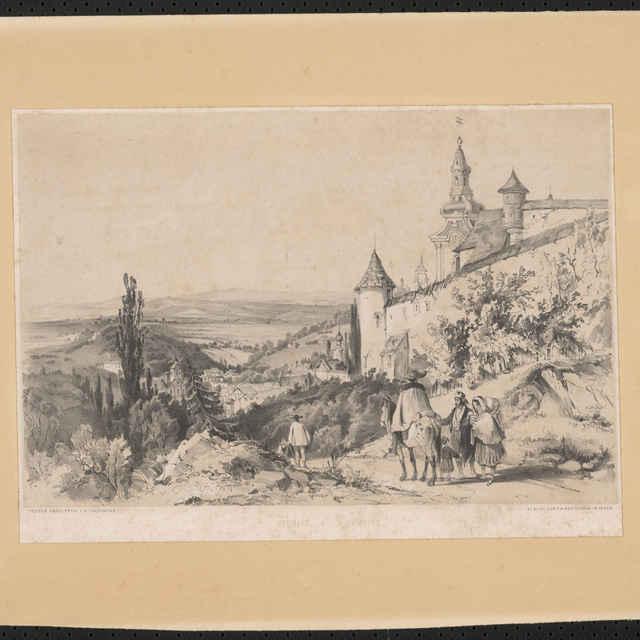 Ľudovít Rohbock, Starý zámok v Banskej Štiavnci, litografia, 1840 - Rohbock, Ľudovít