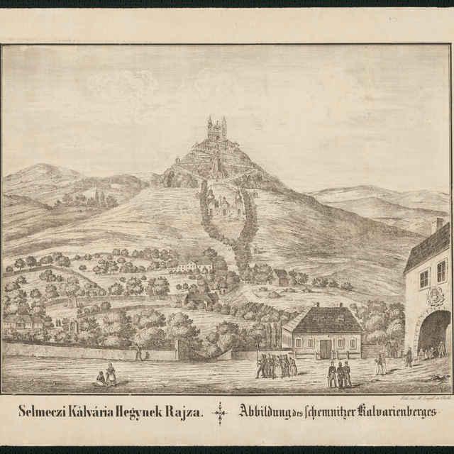 Veduta, Kalvária v Banskej Štiavnici, litografia, okolo polovice 19. storočia - Engel, M.