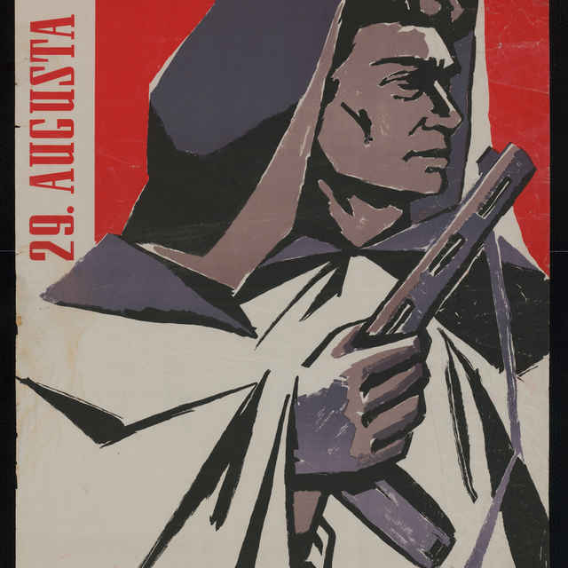 Plagát k výročiu SNP, farebný, 1958..1960 - V. Takáč