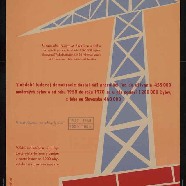 Plagát výstavba bytov, farebný, 1958..1960 - G. Virág. V. Takáč a kolektív