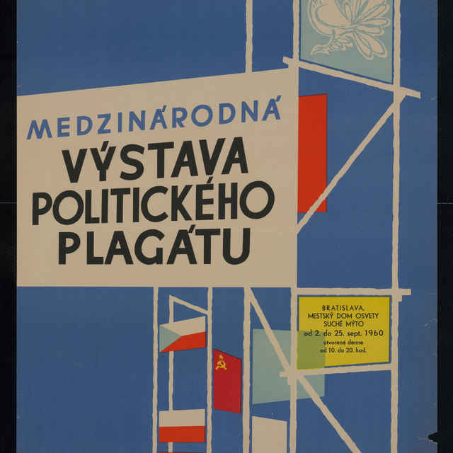 Plagát medzinárodnej výstavy politického plagátu v Bratislave, farebný, 1960 - G. Lehén