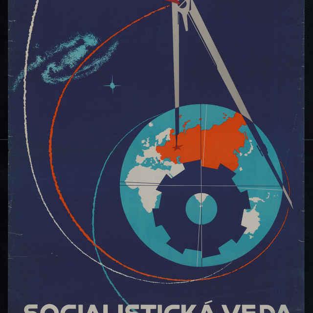 Plagát Socialistická veda slúži mieru, farebný, 1960 - A. Pepich