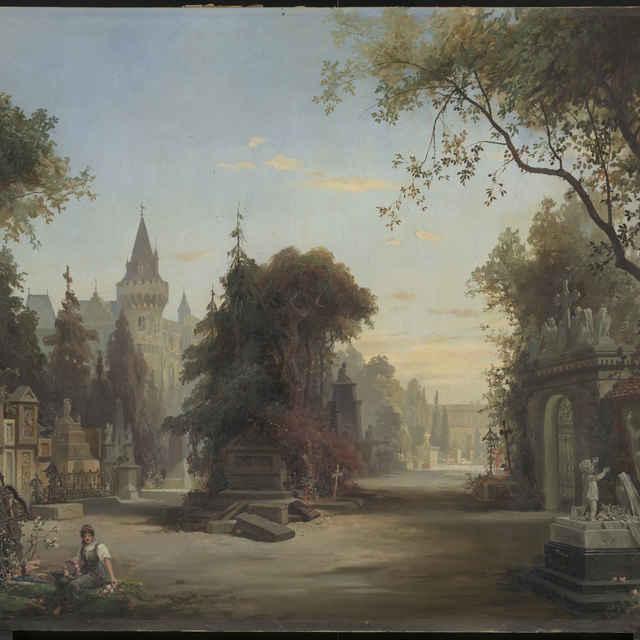 Romantická krajina s cintorínom a zámkom - Burgharth Herman
