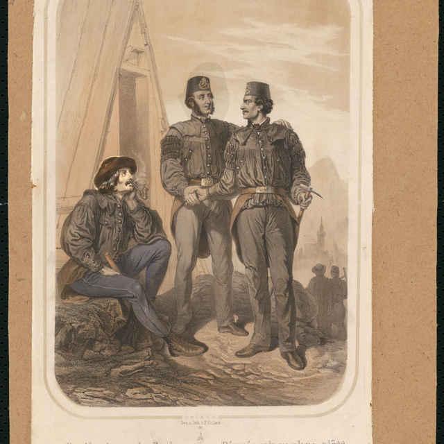 Traja baníci pred šachtou, litografia, tlač: F.Kollarž, 2. polovica 19. storočia