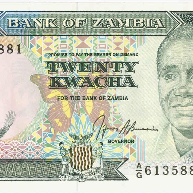 Bankovka 20 kwacha (fauna, flóra)