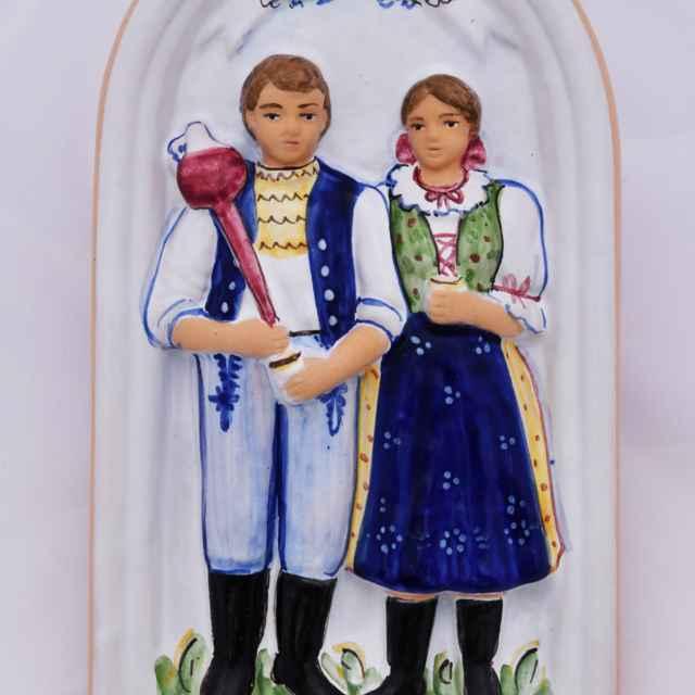 Kachlica reliéfna majoliková - Hanusková, Mária