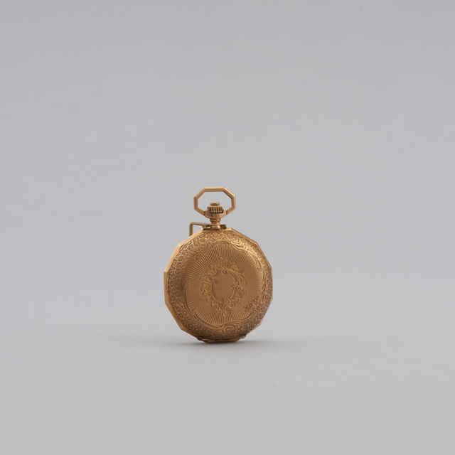 Hodiny vreckové, dámske, zlaté, cizelované, 19. stor.