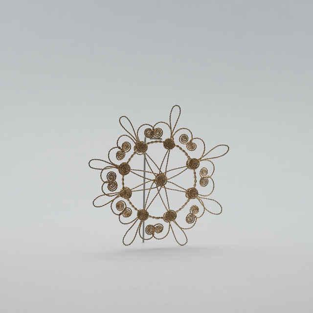 Ozdoby pletené z postriebreného <u>drôtu</u> na spôsob gatričiek, funkcia: ozdoby na vianočný stromček