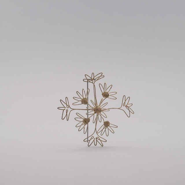 Snehová vločka na ľudový motív, meď postriebrená - Ozdoba na vianočný stromček autorka: Remígia Biskupská