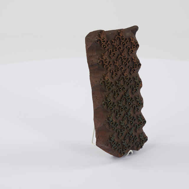 Forma modrotlačová, drevo, kov, špirálky a rokaje, tulipán, bodkovanie, 25,5x12,5x3cm