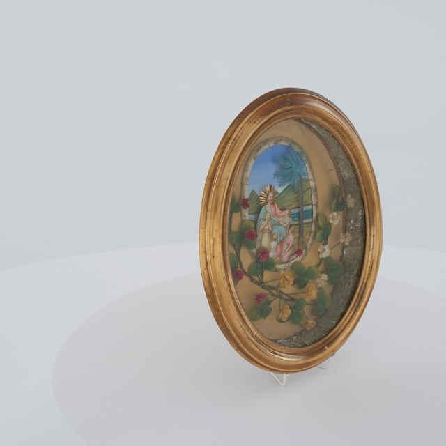 Obraz - Ježiš s deťmi a palmou, papierové kvety, oválny tvar, kovový rám