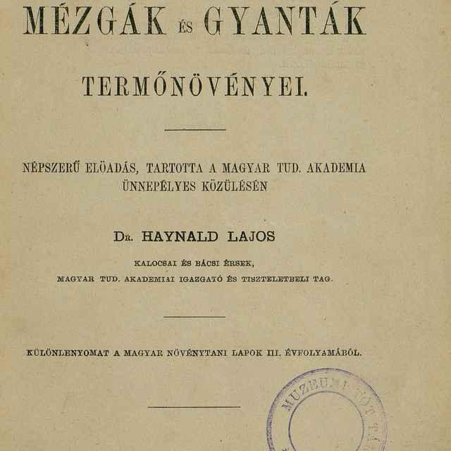 A Szentírási Mézgák És Gyanták Termőnövényei - Haynald, Lajos