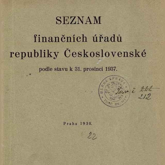 Seznam finančních úřadů republiky Československé podle stavu k 31. prosinci 1937