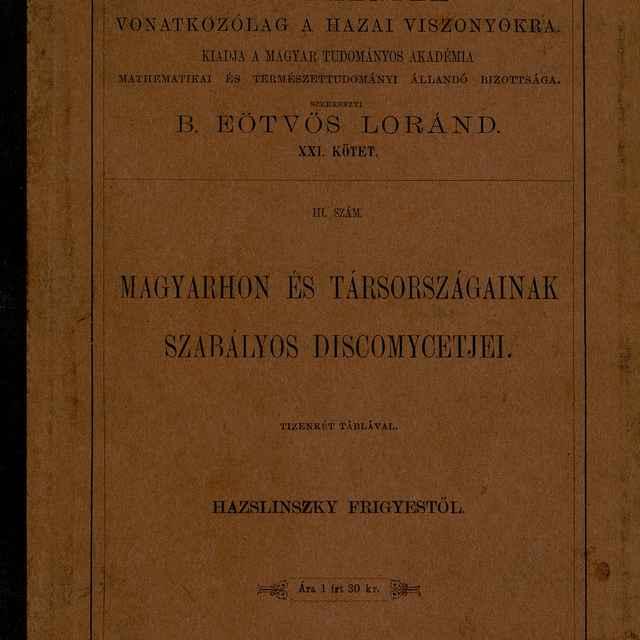 Einige neue oder wenig bekannte Discomyceten - Hazslinszky, Frigyes Ákos
